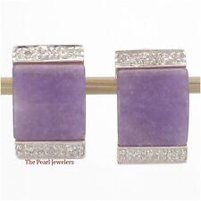 14k Yellow Gold Omega Back, Diamond & Cabochon Lavender Jade Post Earrings TPJ