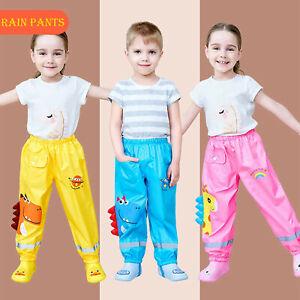 Toddler Rain Waterproof Pants Boys Girls Mud Dirty Proof Trousers Kids Rainwear