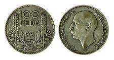 pcc1840_117) 100 Leva Boris III Bulgaria 1934 Argento Silver
