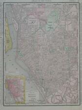 Original 1895 Map BUFFALO New York State Insane Asylum Streetcar Bicycle Track