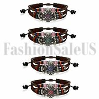 Vintage Womens Lady Ethnic Flower Multilayer Leather Tribal Beaded Cuff Bracelet