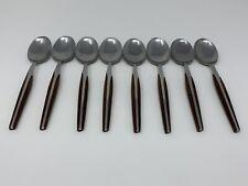 Vintage Eldan Teaspoons Stainless Steel Japan Brown Lot of 8 MCM
