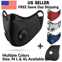 Mesh Nylon Washable Sports Face Mask with KN95 Filters Valves for Sports Cycling
