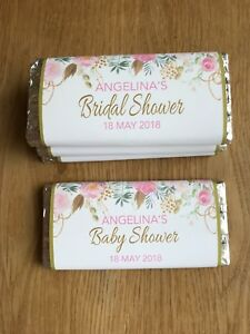 Floral Blush & Gold Chocolate Wrapper~Personalised Birthday, Baby Shower, Bridal