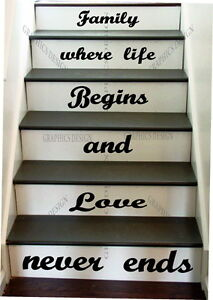 Stairs Quote Family Life Love Decorative Vinyl Wall Sticker Art Decal Graphic