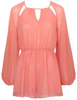 Lipsy UK 14 Sienna Coral Pink Summer Split Sleeve Chiffon Short Playsuit New