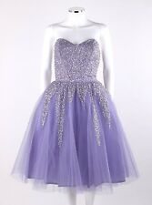 Vtg KAY SELIG c.1950's Lavender Sequin Embellished Strapless Tulle Party Dress