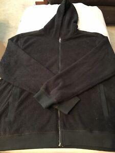 Saks Fifth Avenue Fleece Shearling Hoodie Jacket 2XL XXL Microfleece Black