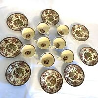 Set Of 8 Multicolor Royal Staffordshire Clarice Cliff TONQUIN Tea Cup & Saucer