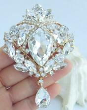 "Exquisite 3.54"" Clear Austrian Crystal Teardrop Brooch Pin Pendant Ee04082C14"