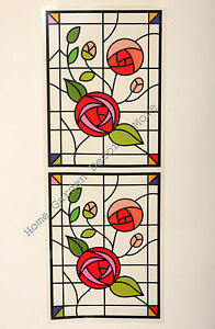 """24.4"""" x 9"""" RED ROSE VINE Stained Glass Window Film Sticker Decal Peel & Stick"""