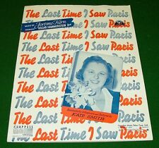 The Last Time I Saw Paris, 1940 Sheet Music: KATE SMITH on COVER. Good Condition