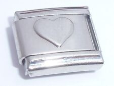 RAISED SILVER HEART Italian Charm I Love You fits 9mm Classic Starter Bracelets