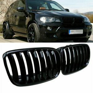 2x Front Gloss Black Kidney Hood Grille For BMW X5 E70 X5M X6 E71 E72 07-14