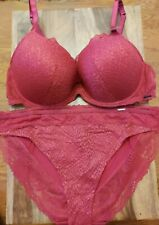 40DD Bra M&S AUTOGRAPH Textured Sheer Lace Plunge Bra & HighLeg Knickers Size 18