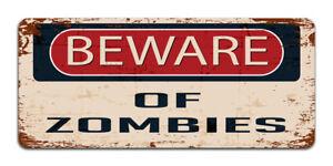 Beware Of Zombies - Vintage Metal Sign | Halloween | Bedroom, Man Cave Door Sign