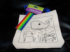 Crafter's Square Whale Fish Crab Sea Color It Yourself Tote Carry Bag w/Markers
