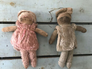 Pair of 1920's mohair dolls pink & blue