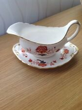 ROYAL CROWN DERBY 'Bali' Gravy/Sauce Boat & Underplate, Excellent Condition 1982
