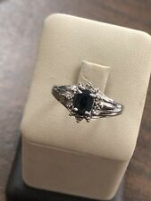 Gorgeous Sterling Silver 925 Oval Sapphire & Round Natural Diamond Ring