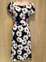 TU Dress Size 14 WITH POCKETS! Navy Blue Floral Knee Length Short Sleeved Lined