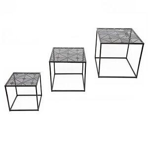 Set of 3 Black Square Iron Geo Geometric Design Nesting Tables Home Furniture