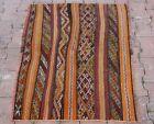 Cappadocia Embroidered Kilim Orange Rug Turkish Hand Knotted Carpet 2.7x3.5 ft