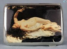 Antique Erotic 1920s British Lady Eagle Silver Pictorial Cigarette Case