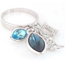 18kt White Gold Plated Dangle Bling Ring featuring Sapphire Swarovski Crystal