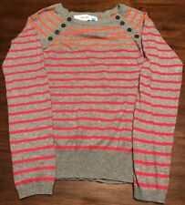 Anthropologie Sparrow XS Gray With Orange/ Fuchsia Stripe Raglan Sweater