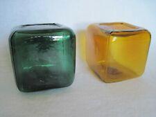 Vintage Handblown Glass Cubes Green, Amber