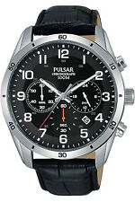 PULSAR PT3833,Men's Chronograph,QUARTZ,STAINLESS CASE,Leather,New,Date,100m WR