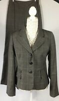 HOBBS Size 12 Two Piece Suit Jacket & Trousers Prince Of Wale Check 100% Wool
