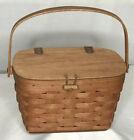 "Longaberger Basket Purse Sm Leather Strap Heartland Hinge Knob 1989 6x6.5x9.5"""