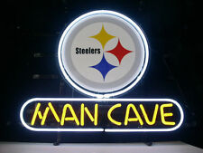 """New Pittsburgh Steelers NFL Bar Real Glass Man Cave Neon Sign 17""""x14"""""""
