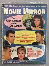 MOVIE MIRROR MAGAZINE SEPTEMBER 1962 ELIZABETH TAYLOR EDWARDS CHAMBERLAIN