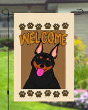 Doberman Welcome Dog Garden Banner Flag 11x14 to 12x18 Pet Yard Decor Paw