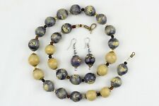 Natural Clay Beads Necklace + Earrings Set. Hand painted Kazuri type beads NCS38