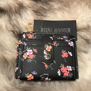 NWT Steve Madden Bhayden Card Case Wallet - Pretty Pink & Orange Floral Print