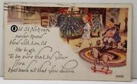 Christmas Children Playing Pull Horse Doll Sailboat 1921 Postcard D6