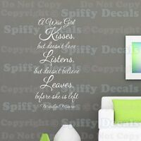A WISE GIRL KISSES LOVE MARILYN MONROE Quote Vinyl Wall Decal Decor Sticker