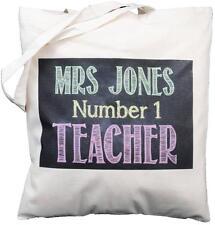PERSONALISED - NO 1 TEACHER - BLACKBOARD DESIGN - COTTON SHOULDER BAG - Tutor