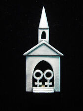 """JJ"" Jonette Jewelry Silver Pewter 'Community Church ~ God's House' Pin"