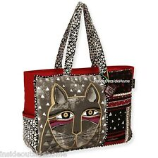 Laurel Burch Whiskered Gray Cat OVERSIZED Tote Bag Travel Sport RETIRED LAST ONE
