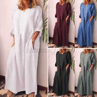 ZANZEA Women Long Sleeve Round Neck Casual Loose Kaftan Long Maxi Dress Oversize