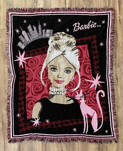 """Vintage Barbie In The City Woven Tapestry Throw Blanket 44""""x55"""" Avon"""