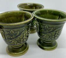 More details for vintage holkham pottery green vine miniature vase / urn set of 3