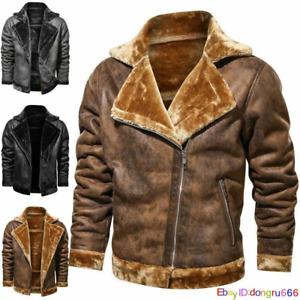 Mens RAF Aviator Faux Fur Leather Jacket Coat Bomber Fleece Pilot Flying Outwear