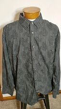Van Heusen Studio Long Sleeve Button Front Black Stripes Paisley XXL Slim fit
