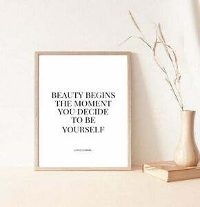 beauty begins coco Chanel home decor print/poster
